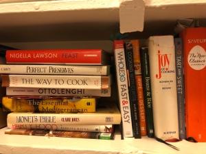 Cookbooks on a shelf